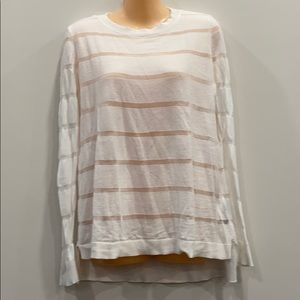 White Vince Camuto Thin Sweater with Stripes